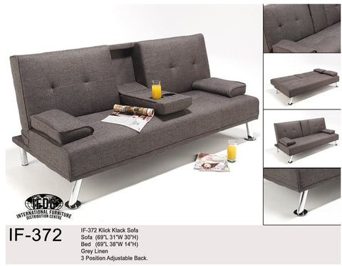 IF-372 Grey Linen Klick Klack Sofa - Mike the Mattress Guy