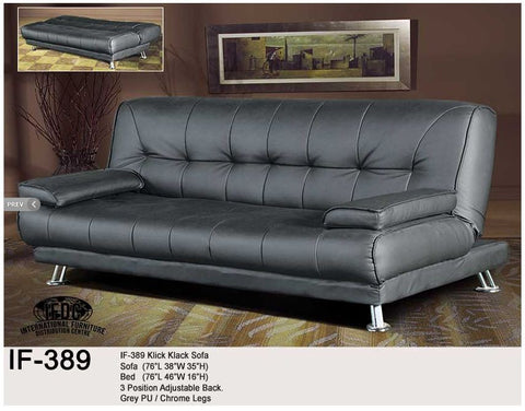 IF-389 Grey Faux Leather Klick Klack Sofa Bed - Mike the Mattress Guy