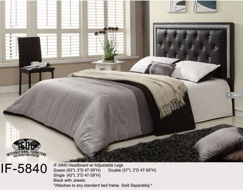 IF-5840 Black with Crystals Headboard - Mike the Mattress Guy
