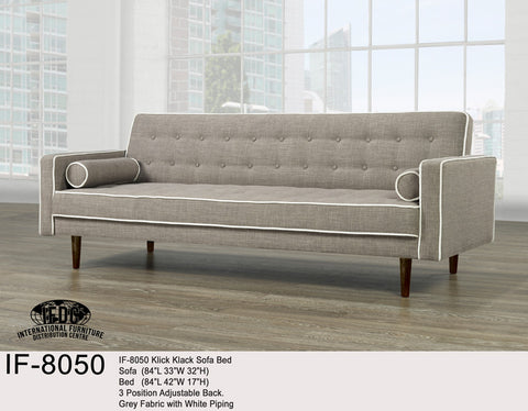 IF-8050 Grey with White Piping Klick Klack Sofa Bed - Mike the Mattress Guy