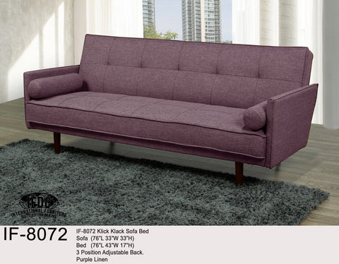 IF-8072 Purple Linen Klick Klack Sofa Bed - Mike the Mattress Guy