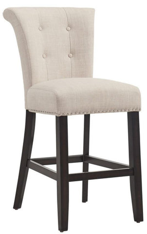 "Selma 26"" Counter Stool In Beige or Grey - Mike the Mattress Guy"