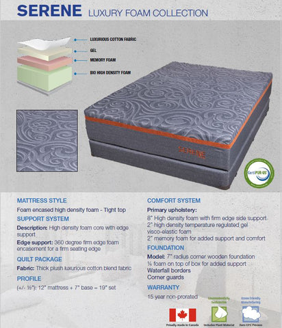 SERENE: SUPERIOR FOAM ENCASED COOLING GEL HYBRID MATTRESS