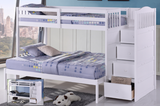 B-5900: Adjustable Single over Single/Double Staircase Bunk Bed (3 Colours) - Mike the Mattress Guy