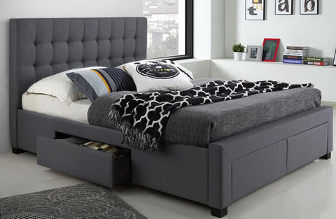 T-2152 Grey Bed With Storage Drawers - Mike the Mattress Guy