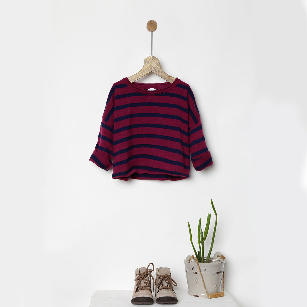 Orange & Teal Green Striped Sweater by Pluie Kids – MangoCloset