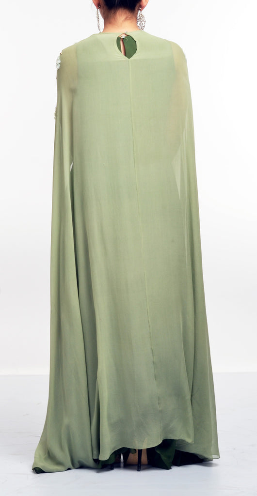 Draped Gown With Embellished Long Cape