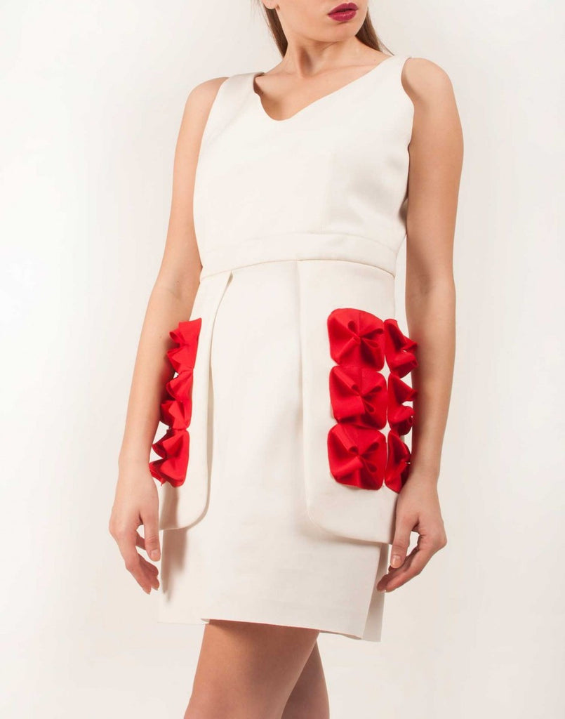 White Dress with Red Flowers on Side Flaps