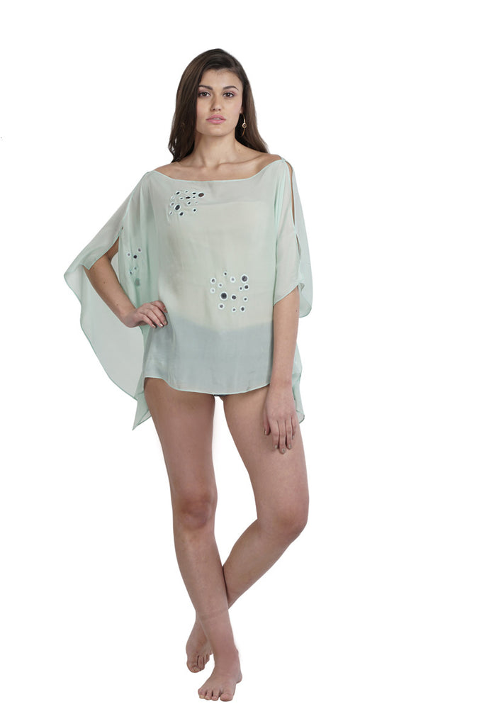 Sea Green Mirror work Cover up Top
