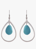 Classic Teardrop Silver Earrings with Turquoise Stone
