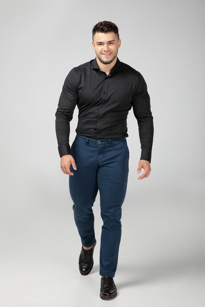 Dress Shirt Grey Melange Front View (2684844605521)