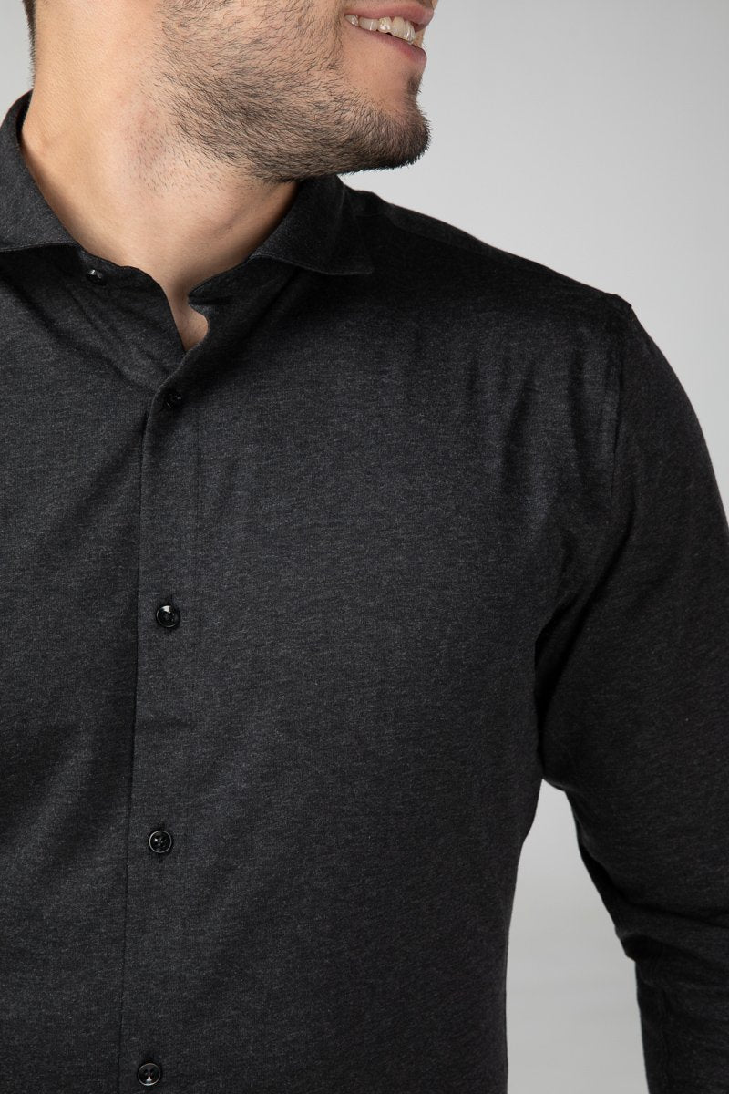 Dress Shirt Grey Melange Front Detail