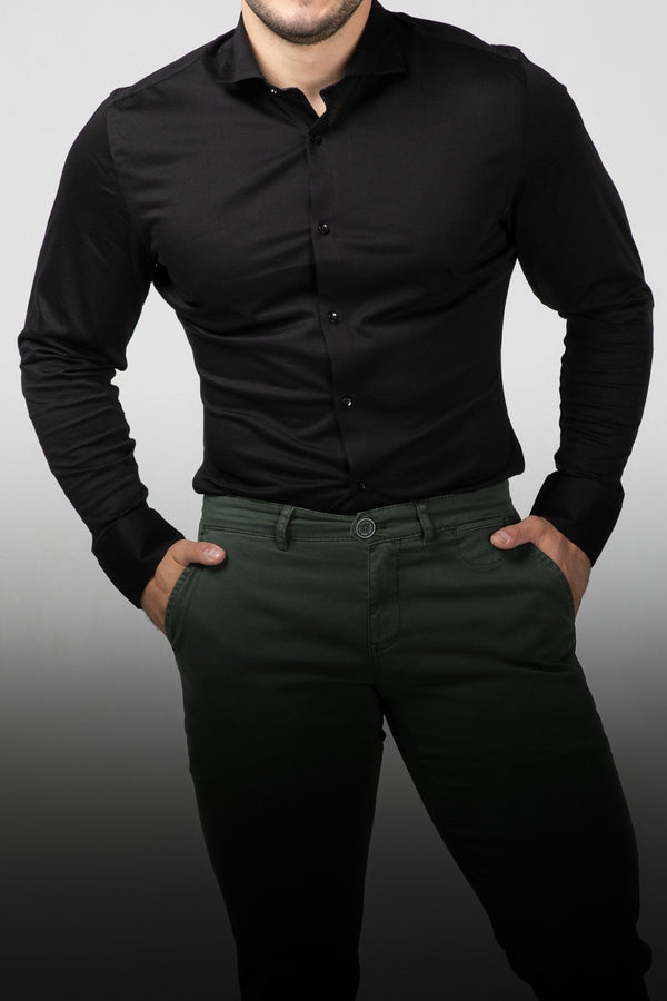 MEN'S DRESS SHIRT - INTENSE BLACK - Aesparel