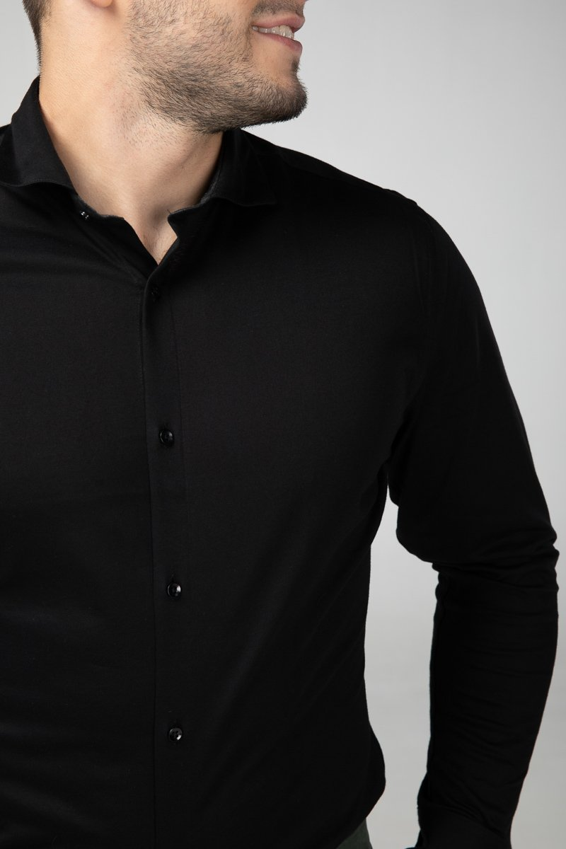 Dress Shirt Intense Black Front Detail (2687290572881)