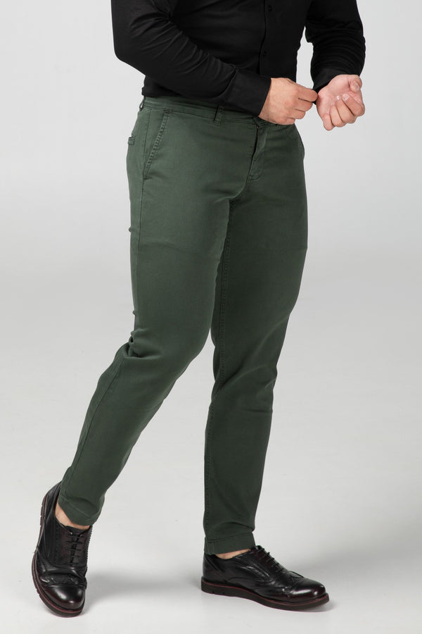 STRAIGHT FIT CHINOS - FOREST GREEN - Aesparel