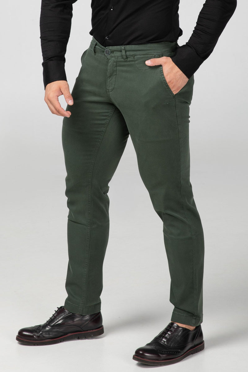 STRAIGHT FIT CHINOS - FOREST GREEN