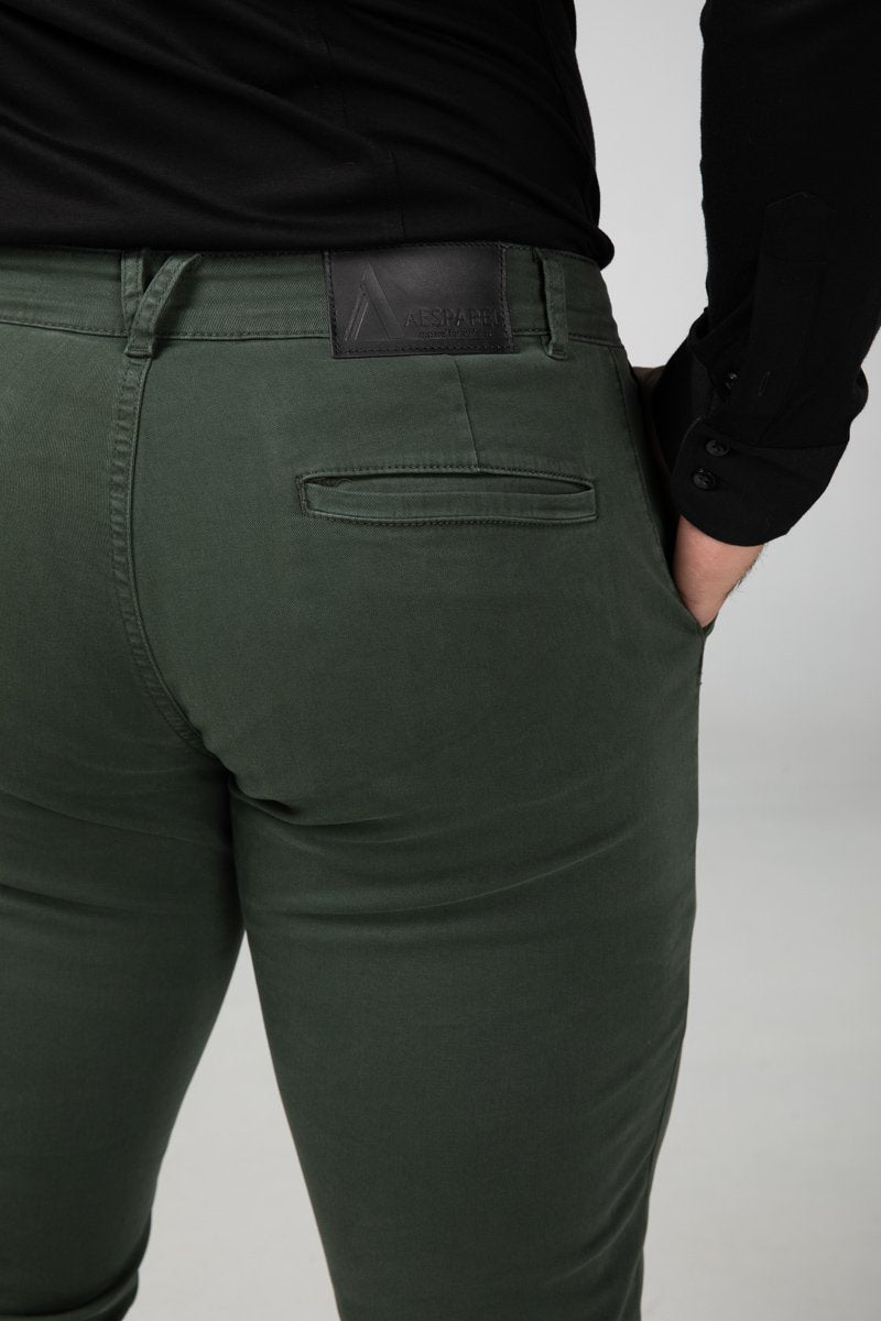 Chino Forest Green Bottom Detail