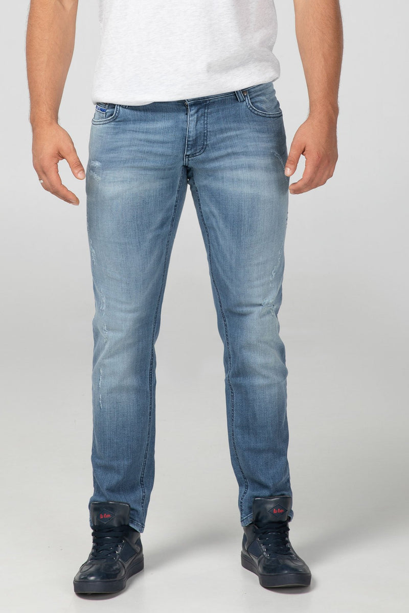 STRAIGHT FIT MEN'S JEANS - BRIGHT DESTROYED - Aesparel