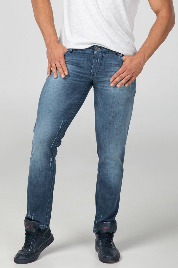 STRAIGHT FIT MEN'S JEANS - 3D DESTROYED - Aesparel