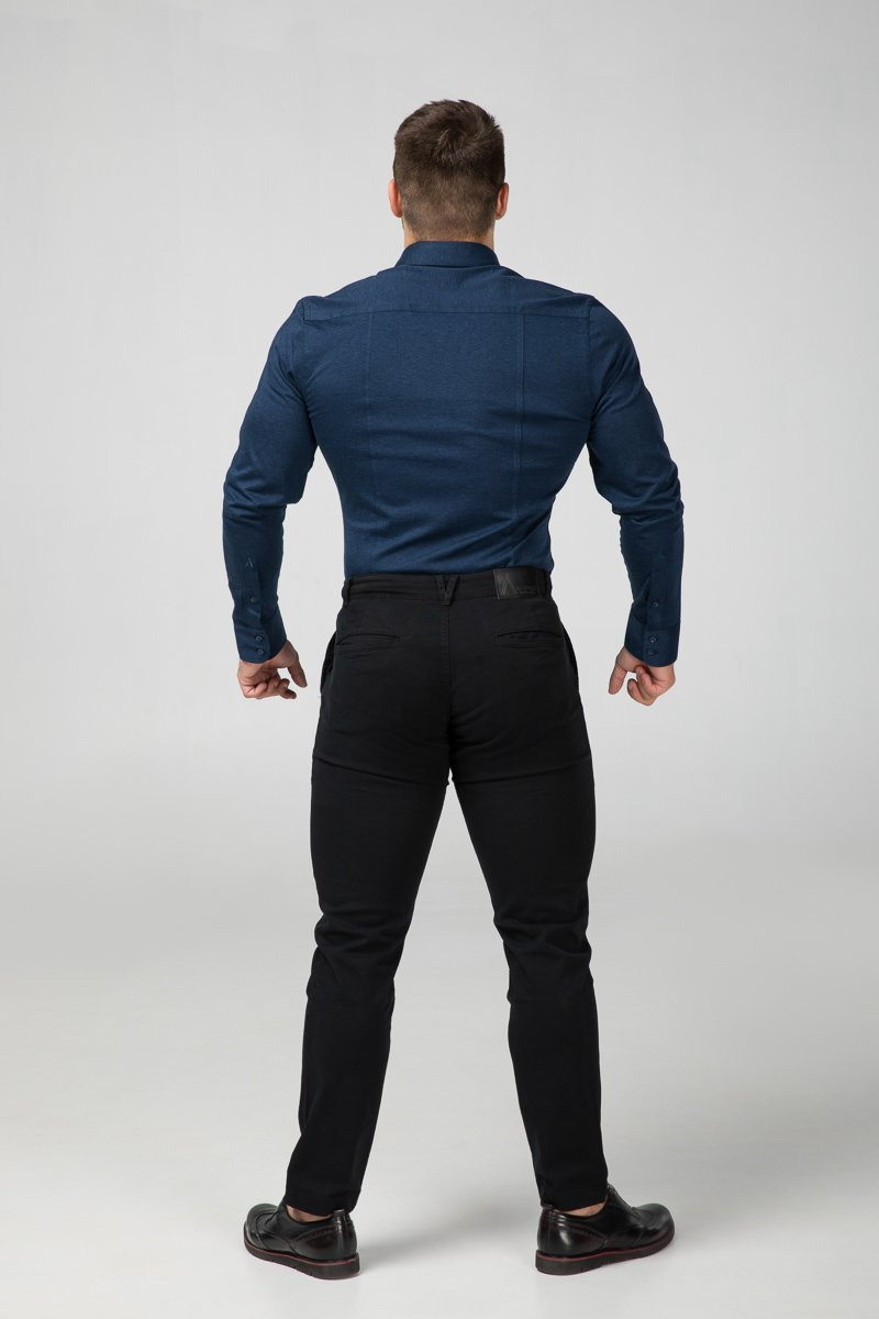 Dress Shirt Blue Melange Rear View (2687335891025)