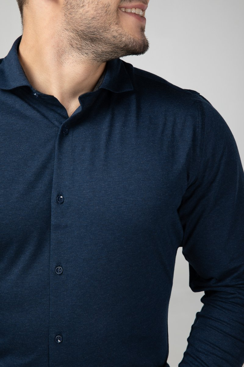 Dress Shirt Blue Melange Front Detail (2687335891025)