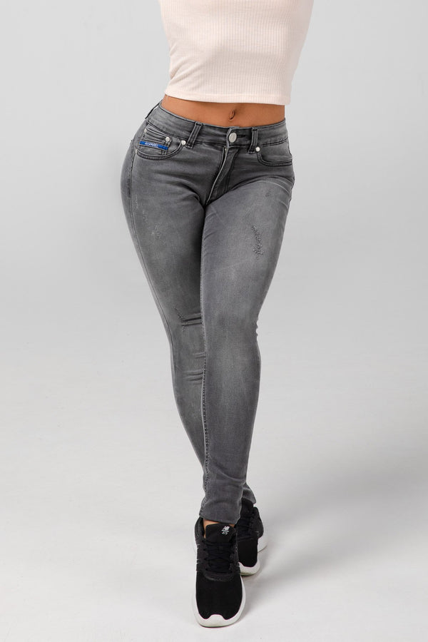 BODY FIT WOMEN'S JEANS - LIGHT GREY DESTROYED - Aesparel