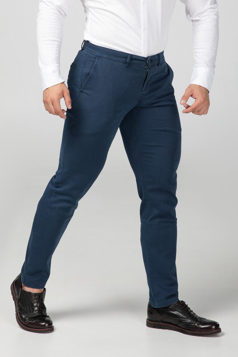 STRAIGHT FIT CHINOS - NAVY BLUE - Aesparel
