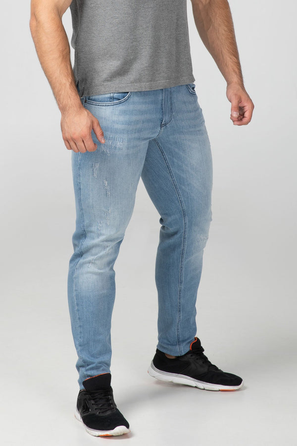 SLIM FIT MEN'S JEANS - BRIGHT DESTROYED - Aesparel
