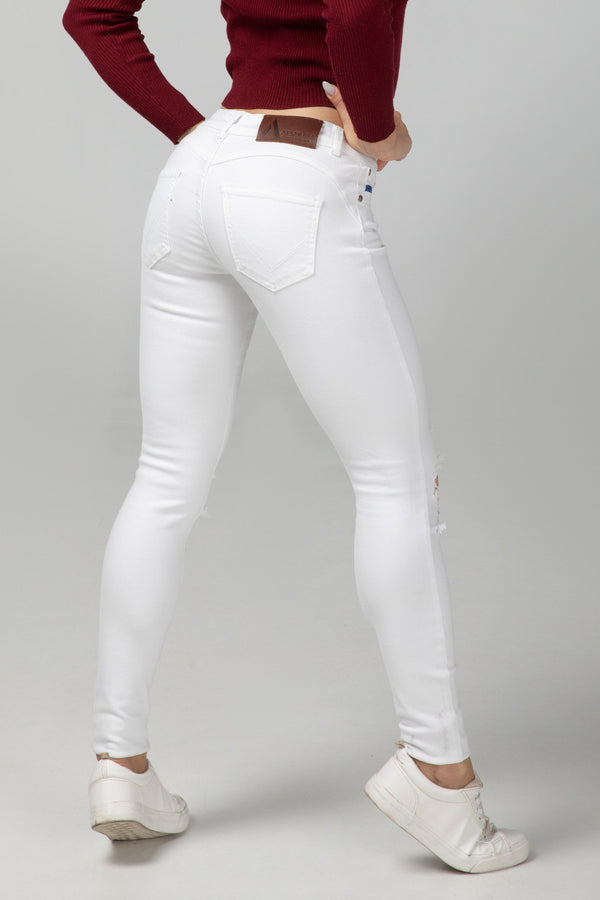 BODY FIT WOMEN'S JEANS - PURE WHITE DESTROYED - Aesparel