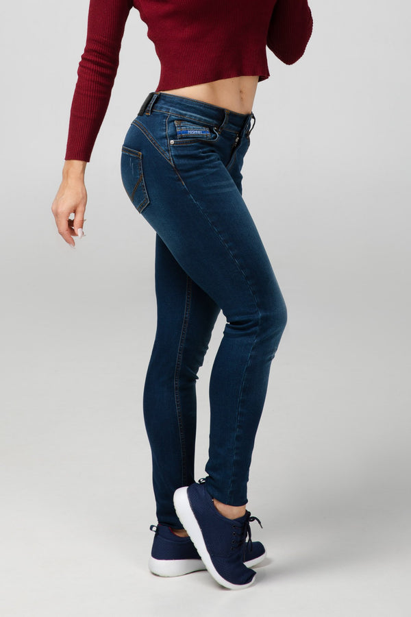 BODY FIT WOMEN'S JEANS - OCEAN BLUE DESTROYED - Aesparel