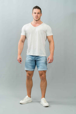 SLIM FIT MEN'S JEANS SHORTS - BRIGHT DESTROYED