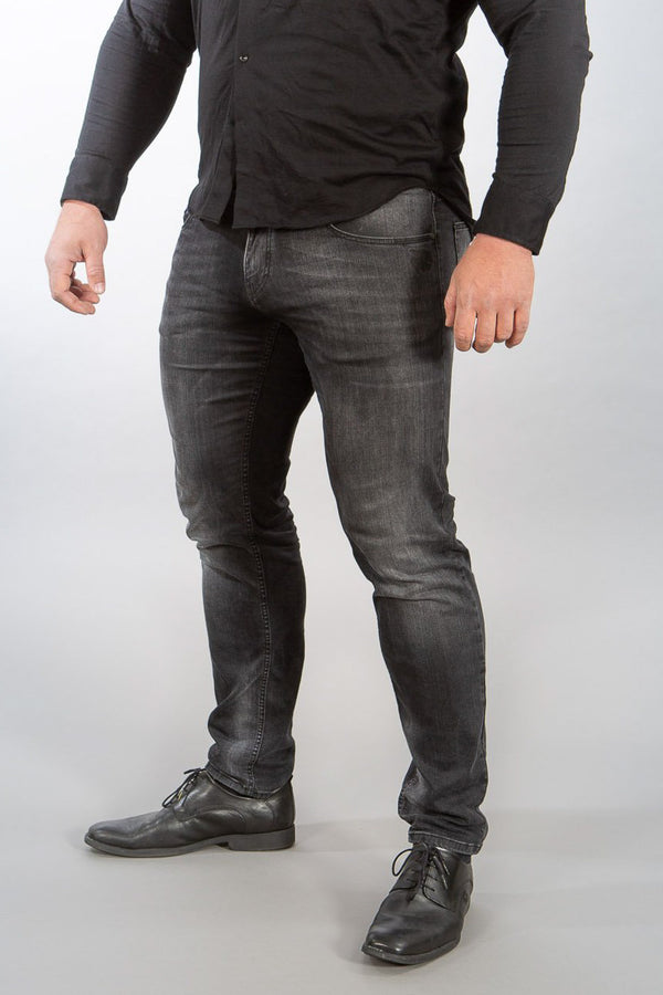 "STRAIGHT FIT MEN'S JEANS - STONE GREY ""GODS RAGE"""