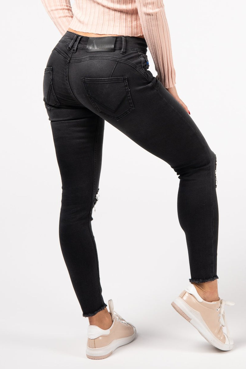 BODY FIT ANKLE FREE WOMEN'S JEANS - COOL GREY - Aesparel