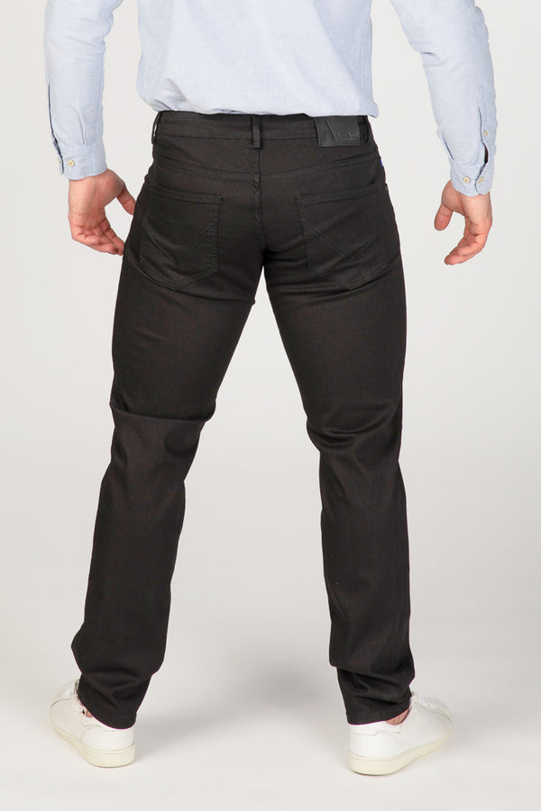 STRAIGHT FIT MEN'S JEANS - PURE BLACK - Aesparel