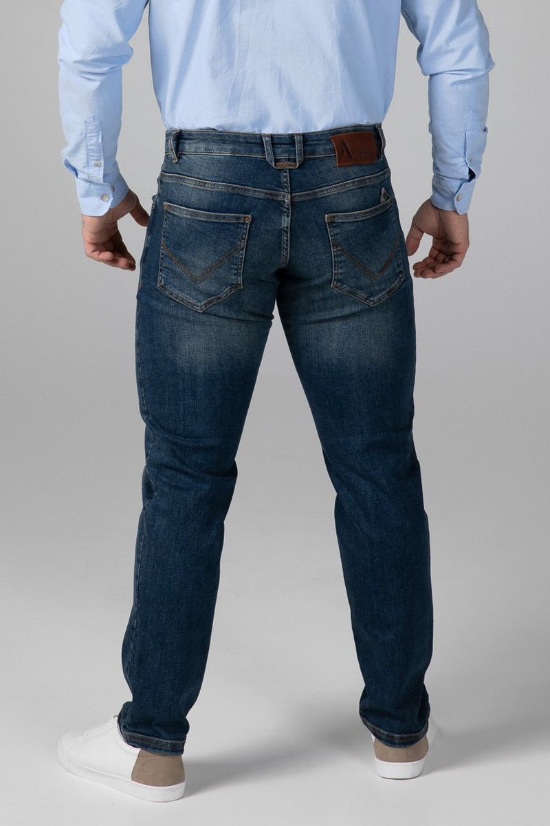 STRAIGHT FIT MEN'S JEANS - RUSTY BLUE - Aesparel