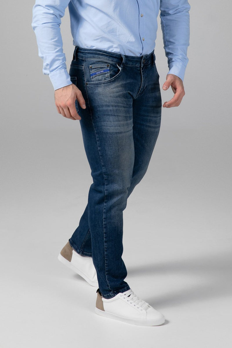 STRAIGHT FIT MEN'S JEANS - TRUE BLUE - Aesparel