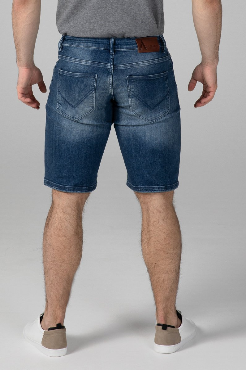 SLIM FIT MEN'S JEANS SHORTS - TRUE BLUE - Aesparel
