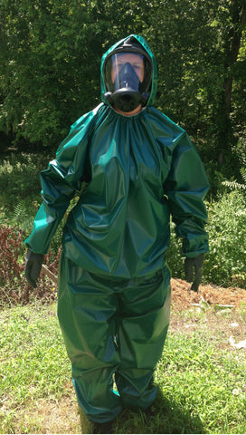 Green PVC 2 PC Suit, Front