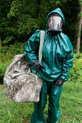 Green PVC 2 Piece Suit with Camo Bag