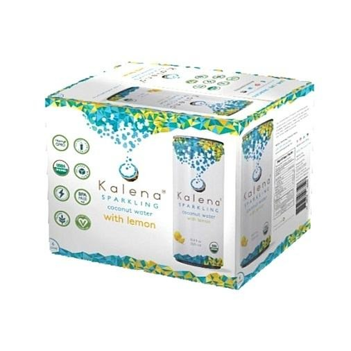 Kalena 10.8 oz Lemon Sparkling Coconut Water Case of 12