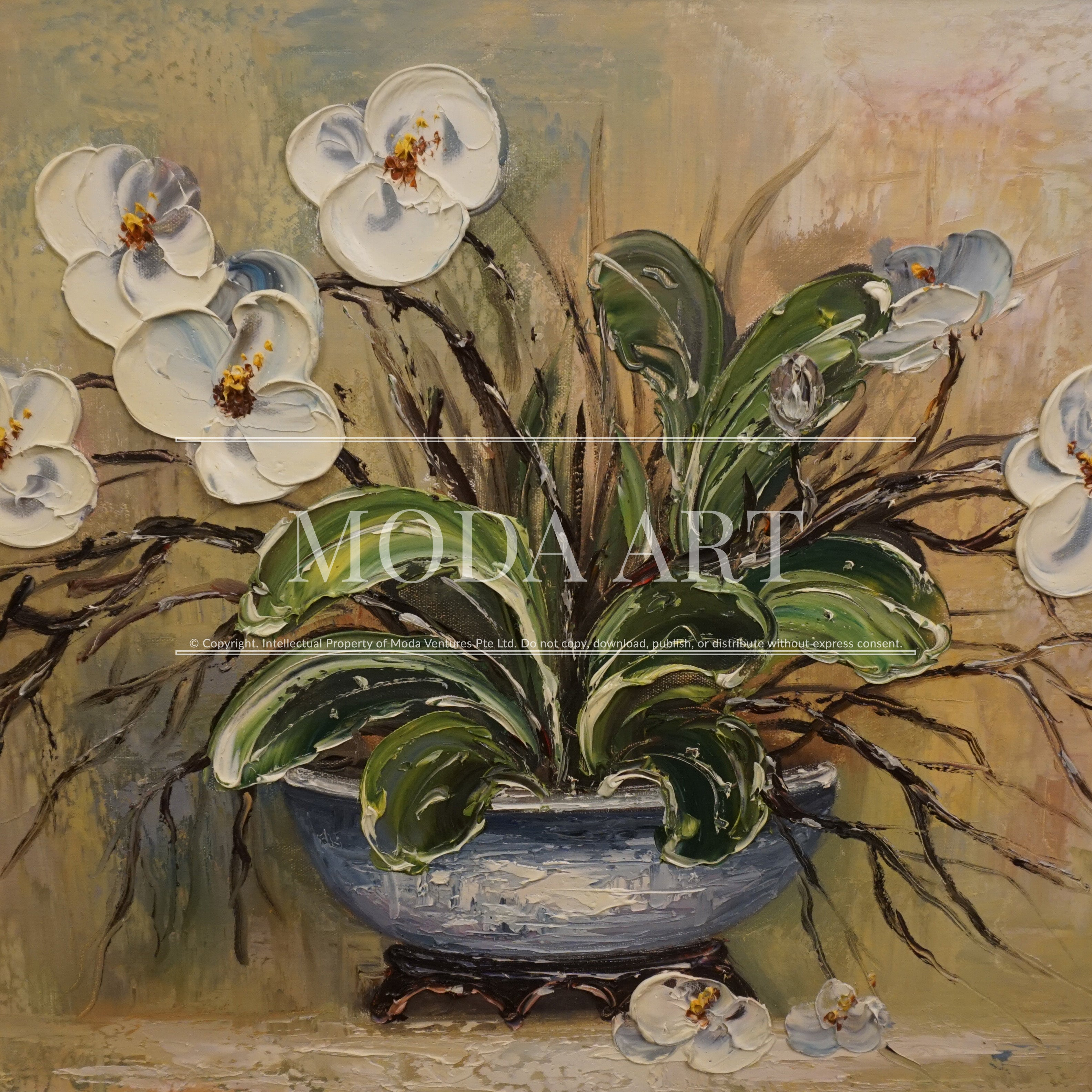 White Orchids In A Blue Vase