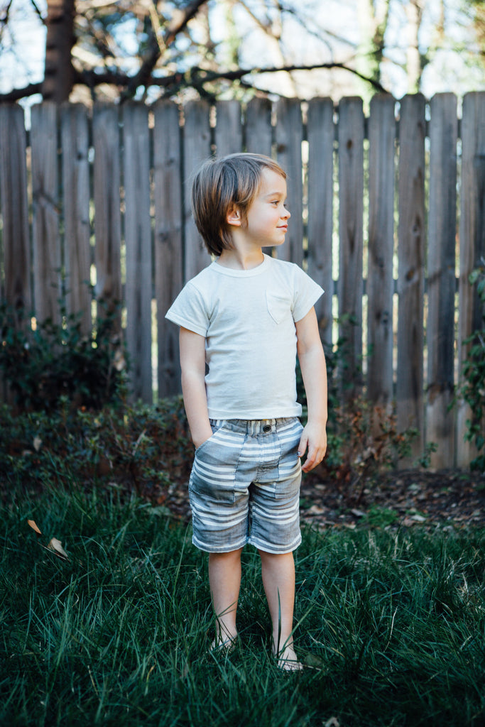 Stripe Gauze Shorts - Blue Sage Baby + Kids
