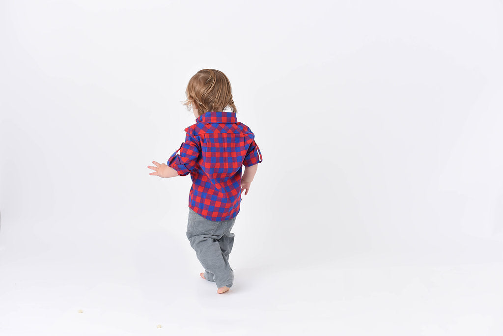 Tyler Flannel Shirt - Red - Blue Sage Baby + Kids