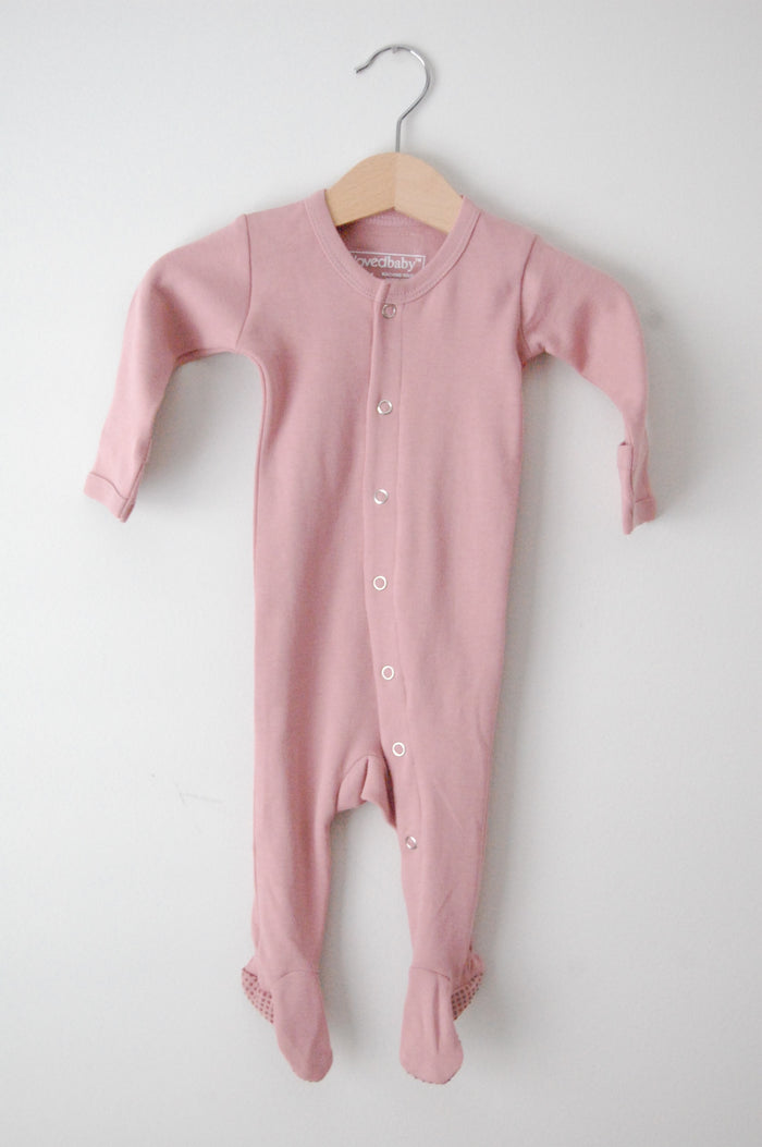 Organic Footed Overall - Mauve - Blue Sage Baby + Kids