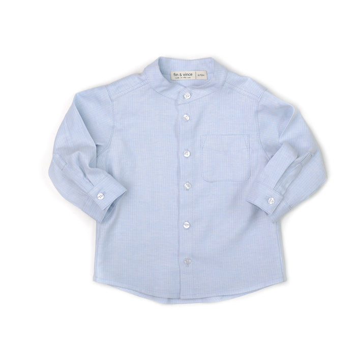 Boys Button Up - Linen Stripe - Blue Sage Baby + Kids