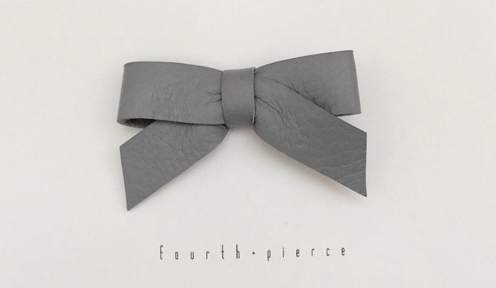 Anne Leather Bow - Shadow - Blue Sage Baby + Kids