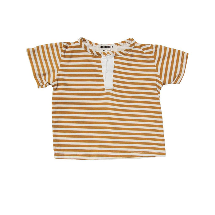 Woven Placket Henley - Golden Stripe - Blue Sage Baby + Kids
