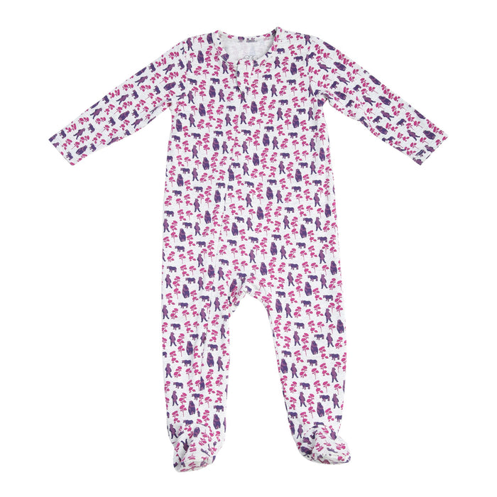 Classic Zipper Footie - Bear - Blue Sage Baby + Kids