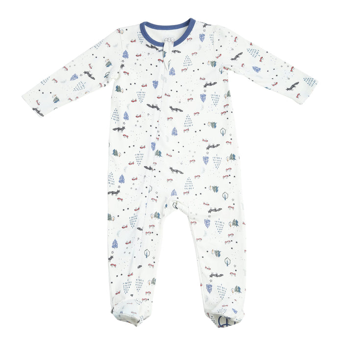 Classic Zipper Footie - Woodland Critters - Blue Sage Baby + Kids