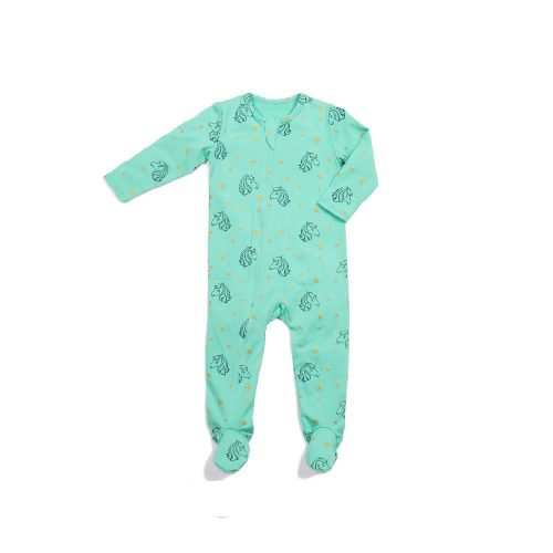 Classic Zipper Footie - Unicorn - Blue Sage Baby + Kids